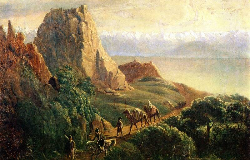 Okrestnosti-seleniya-Karaagach---maslo-Risunki-Lermontova
