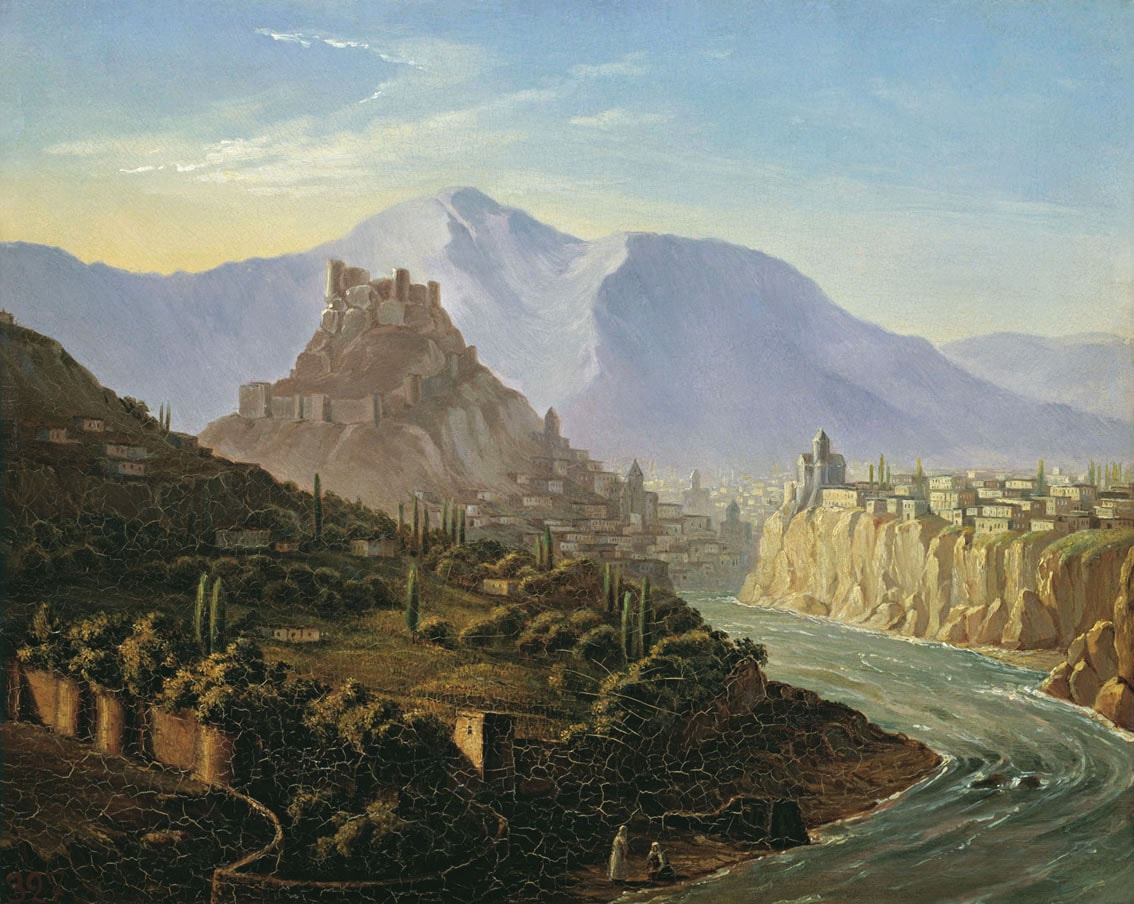 Vid-Tiflisa---1837-karton-maslo-Risunki-Lermontova