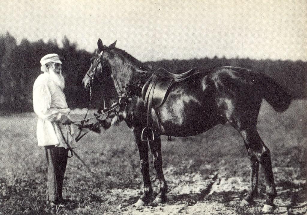 1908-YAsnaya-Polyana.-L.-N.-Tolstoy-s-lyubimyim-konem-Delirom