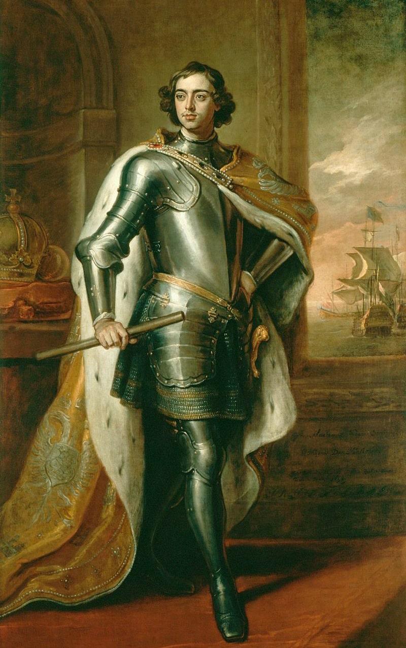 26-letniy-Pyotr-I.-Portret-kisti-Knellera-byil-podaren-Petrom-v-1698-angliyskomu-korolyu-1