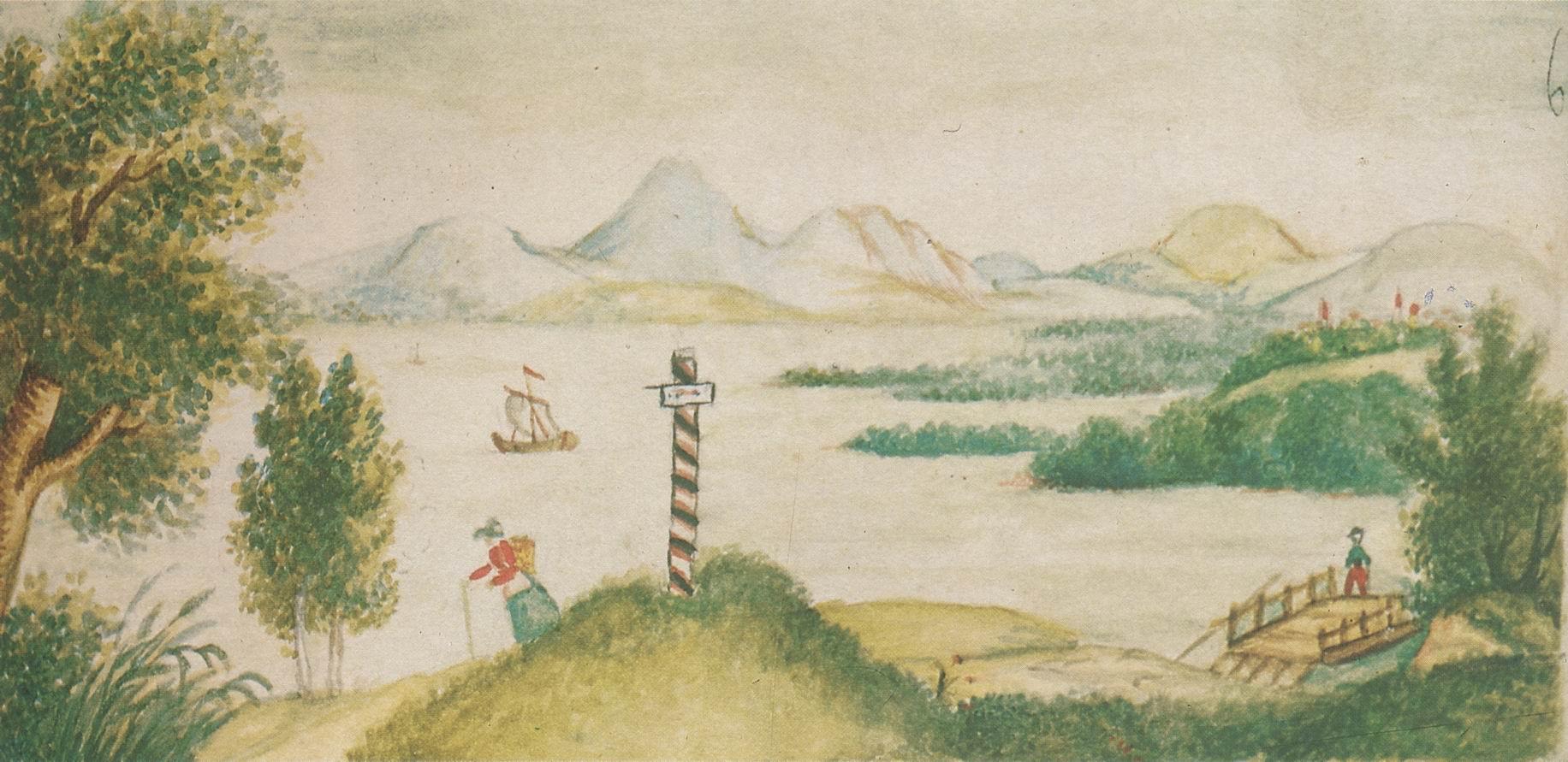 Kavkazskiy-peyzazh-s-ozerom-detskiy-risunok-Lermontova-iz-alboma-akvarel-Risunki-Lermontova