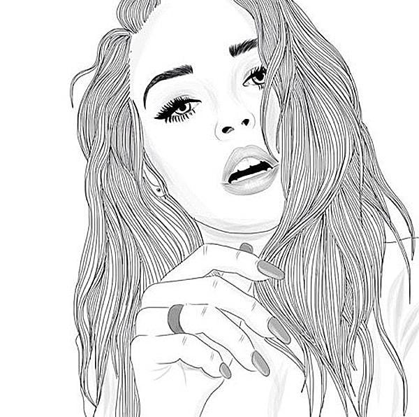 Картинки черно белые девочки нарисованные красивые, пис