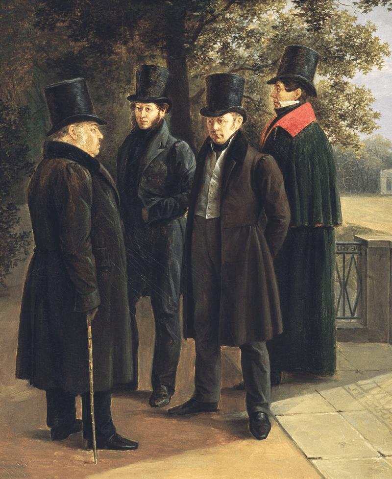 Kryilov-Pushkin-ZHukovskiy-i-Gnedich-v-Letnem-sadu-1832