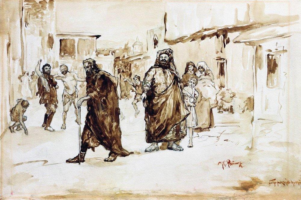 Lyudi-vyismeivayut-i-pobivayut-kamnyami-prohodyashhego-po-ulitse-proroka-Okolo-1890.-Illyustratsiya-k-stihotvoreniyu-Lermontova