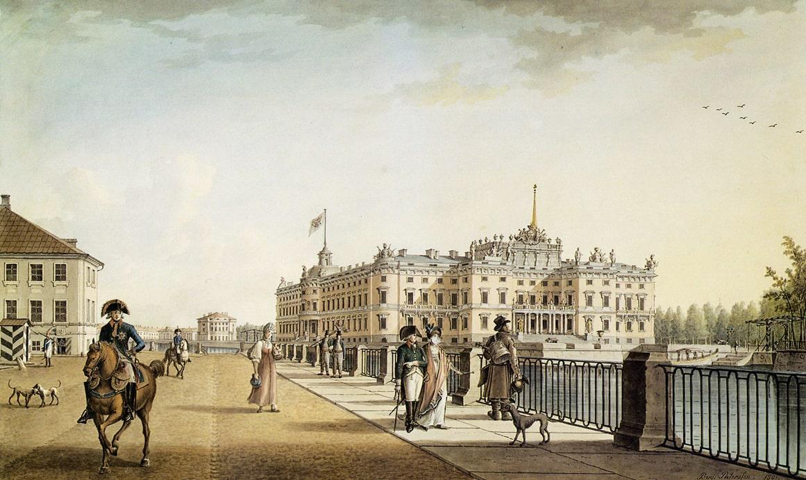 Mihaylovskiy-zamok-so-storonyi-naberezhnoy-Fontanki-1801g