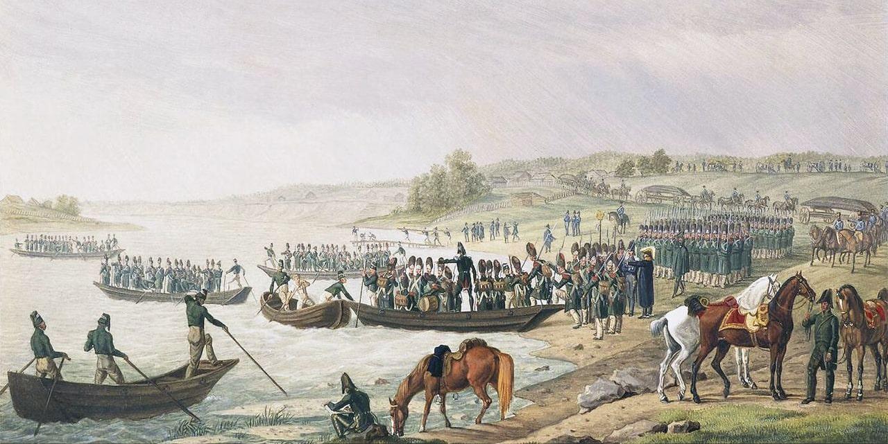 Pereprava-Italyanskogo-korpusa-Evgeniya-Bogarne-cherez-Neman-30-iyunya-1812-goda