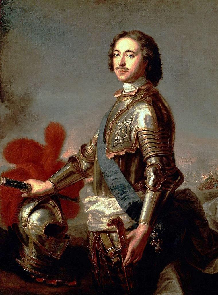 Pyotr-I-so-znakom-ordena-Sv.-Andreya-Pervozvannogo-na-goluboy-andreevskoy-lente-i-zvezdoy-na-grudi.-ZH.-M.-Nate-1717-1