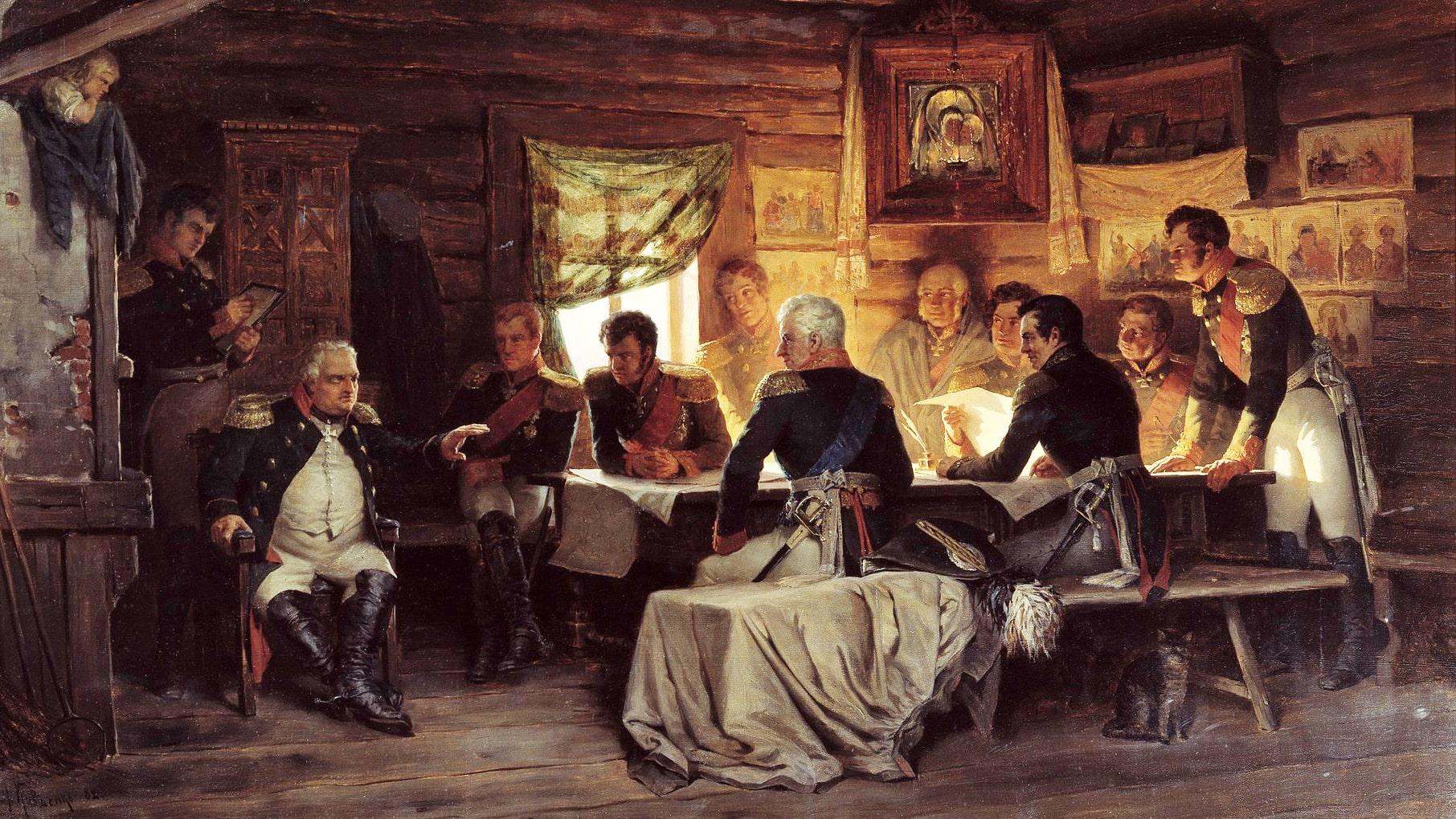 Voennyiy-sovet-v-Filyah-Otechestvennaya-voyna-1812-goda