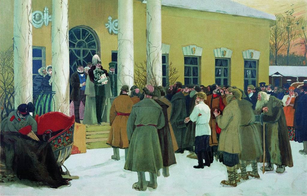 boris-kustodiev-osvobozhdenie-krestyan-chtenie-manifesta