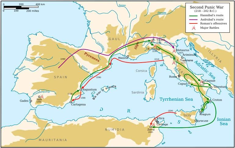 karta-osnovnyh-voennyh-dejstvij-vtoroj-punicheskoj-vojny