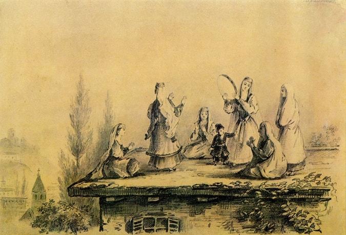 Gruzinki-na-kryishe-sakli-grafitnyiy-karandash-1837-Risunki-Lermontova