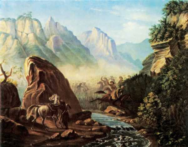 Perestrelka-v-gorah-Dagestana-holst-maslo-Risunki-Lermontova