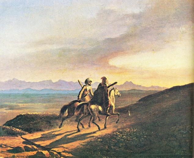 Vospominanie-o-Kavkaze-aprel-1838-karton-maslo-Risunki-Lermontova