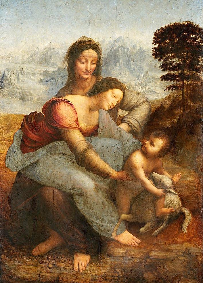 Kartinyi-Leonardo-da-Vinchi---Bogomater-s-Mladentsem-i-svyatoy-Annoy