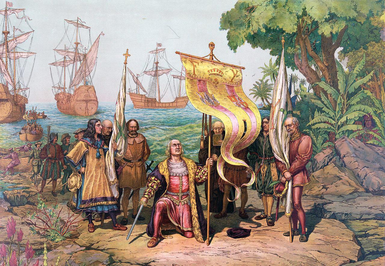 Kolumb-ob'yavlyaet-otkryituyu-zemlyu-sobstvennostyu-ispanskogo-korolya