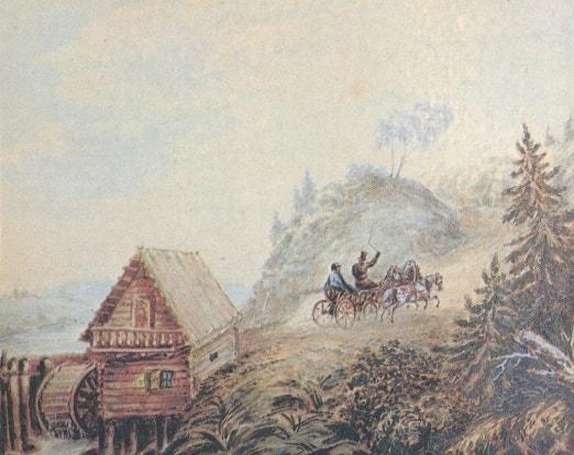 Peyzazh-s-melnitsey-i-skachushhey-troykoy.-Akvarel-1835-Risunki-Lermontova