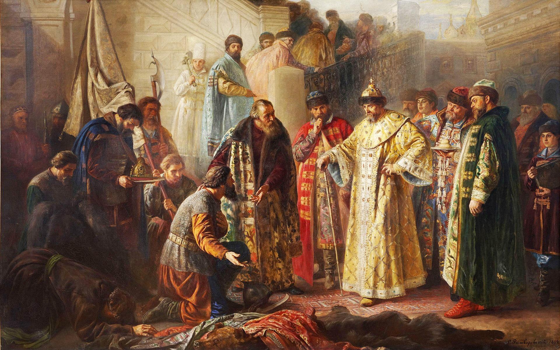 Poslanniki-ot-Ermaka-na-krasnom-kryiltse-pered-Ivanom-Groznyim