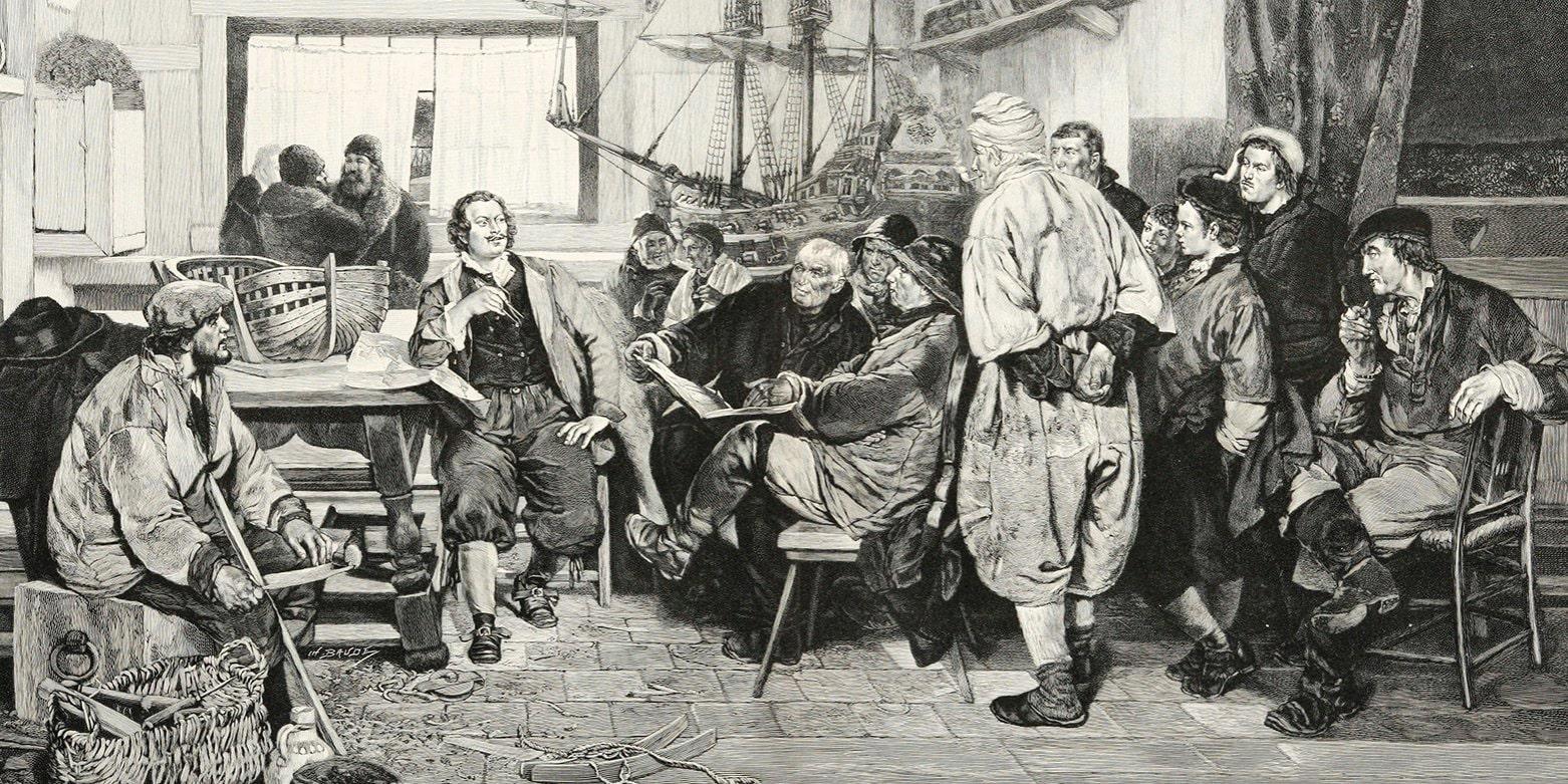 Pyotr-I-beseduet-s-gollandskimi-korabelami-v-1698-godu