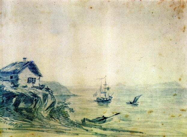 Taman-maslo-1837-Risunki-Lermontova